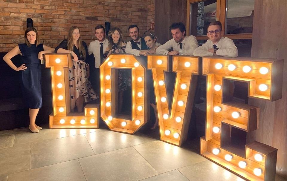 Love drewniany podświetlany